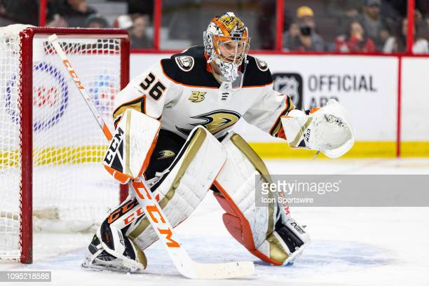 Anaheim Ducks Goalie John Gibson prepares to make a save during second period National Hockey League action between the Anaheim Ducks and Ottawa...