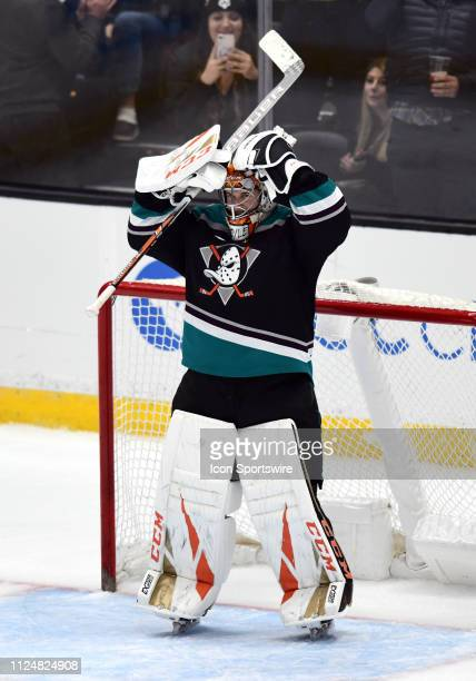 Anaheim Ducks goalie Kevin Boyle reacts after getting his first career NHL victory and shutout in his first NHL start in a game that the Ducks...