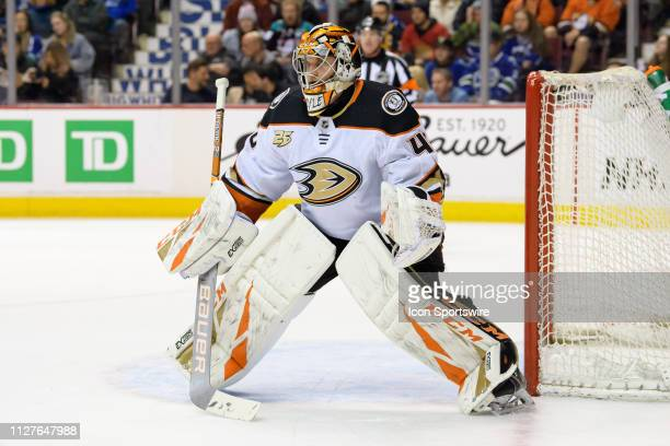 Anaheim Ducks Goalie Kevin Boyle watches the play during their NHL game against the Vancouver Canucks at Rogers Arena on February 25 2019 in...