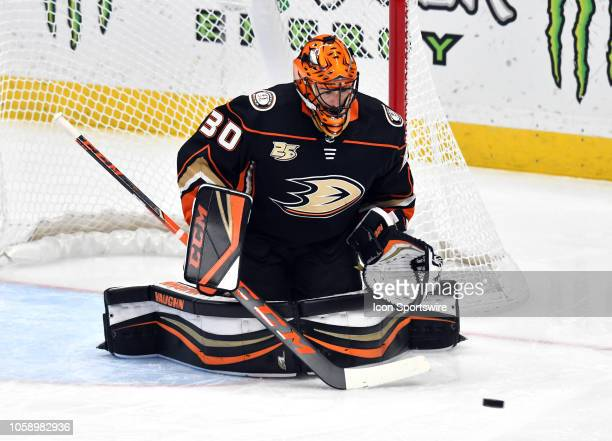 Anaheim Ducks goalie Ryan Miller blocks a shot during the second period of a game against the Calgary Flames played on November 7 2018 at the Honda...