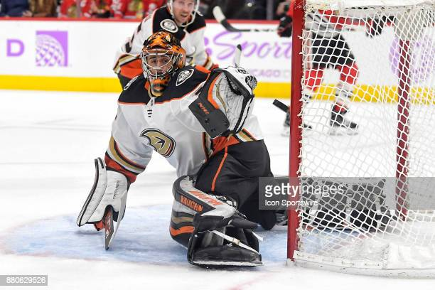 Anaheim Ducks goalie Ryan Miller blocks the puck in the second period during a game between the Chicago Blackhawks and the Anaheim Ducks on November...