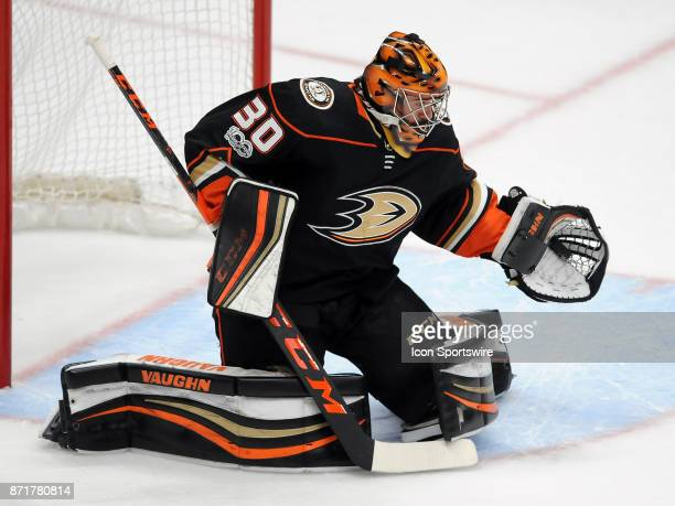 Anaheim Ducks goalie Ryan Miller catches the puck during overtime in a game against the Los Angeles Kings on November 7 played at the Honda Center in...