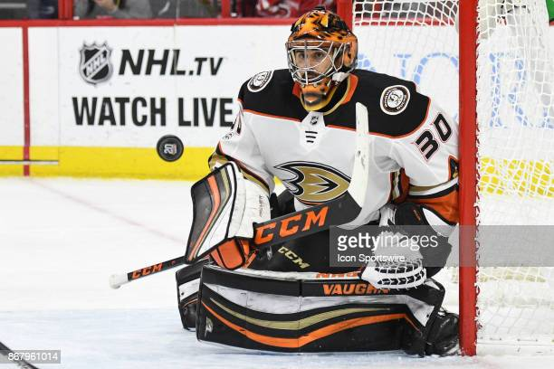 Anaheim Ducks Goalie Ryan Miller eyes a loose puck during a game between the Anaheim Ducks and the Carolina Hurricanes at the PNC Arena in Raleigh NC...