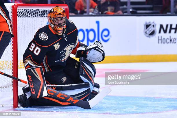 Anaheim Ducks goalie Ryan Miller in action during a NHL preseason game between the Anaheim Ducks and the San Jose Sharks played on September 20 2018...