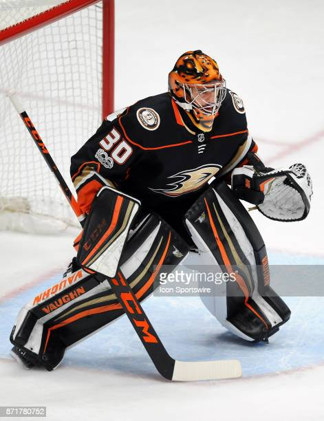 Anaheim Ducks goalie Ryan Miller in action during overtime in a game against the Los Angeles Kings on November 7 played at the Honda Center in...