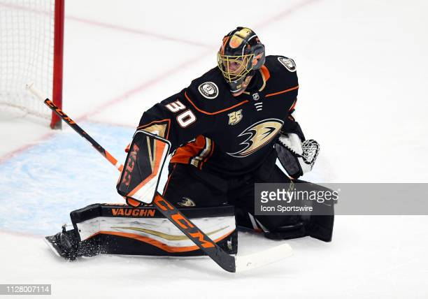 Anaheim Ducks goalie Ryan Miller in action during the first period of a game against the Chicago Blackhawks played on February 27 2019 at the Honda...