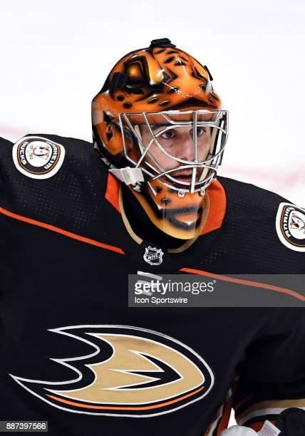 Anaheim Ducks goalie Ryan Miller in action during the second period of a game against the Ottawa Senators on December 6 played at the Honda Center in...