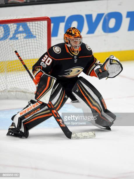 Anaheim Ducks goalie Ryan Miller in goal during warmups before a game against the Nashville Predators on November 3 played at the Honda Center in...