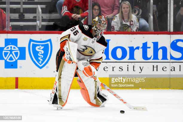 Anaheim Ducks goaltender John Gibson clears the puck in the 3rd period of game action during an NHL game between the Chicago Blackhawks and the...