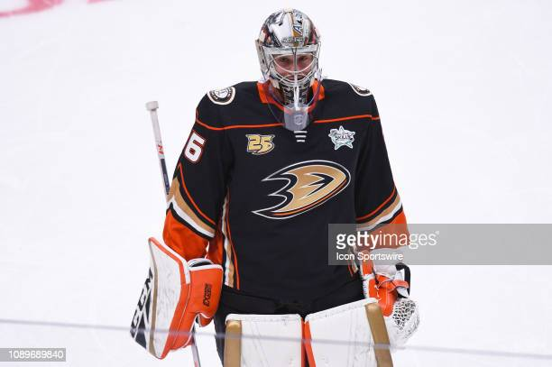 Anaheim Ducks goaltender John Gibson during the NHL AllStar Skills Competition at the SAP Center on January 25 2019 in San Jose CA