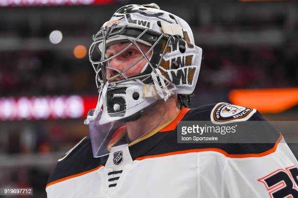 Anaheim Ducks goaltender John Gibson looks on during a game between the Chicago Blackhawks and the Anaheim Ducks on February 15 at the United Center...