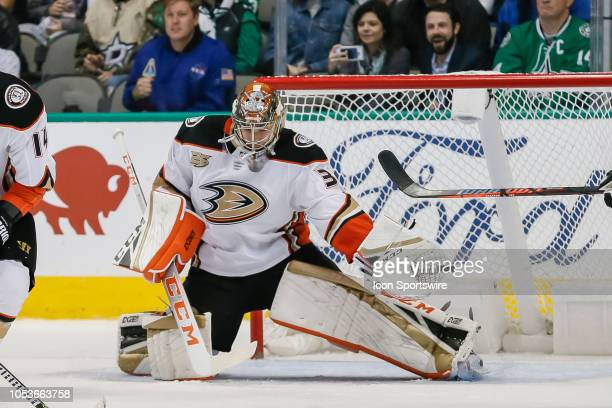 Anaheim Ducks goaltender John Gibson makes a glove save during the game between the Dallas Stars and the Anaheim Ducks on October 25 2018 at American...