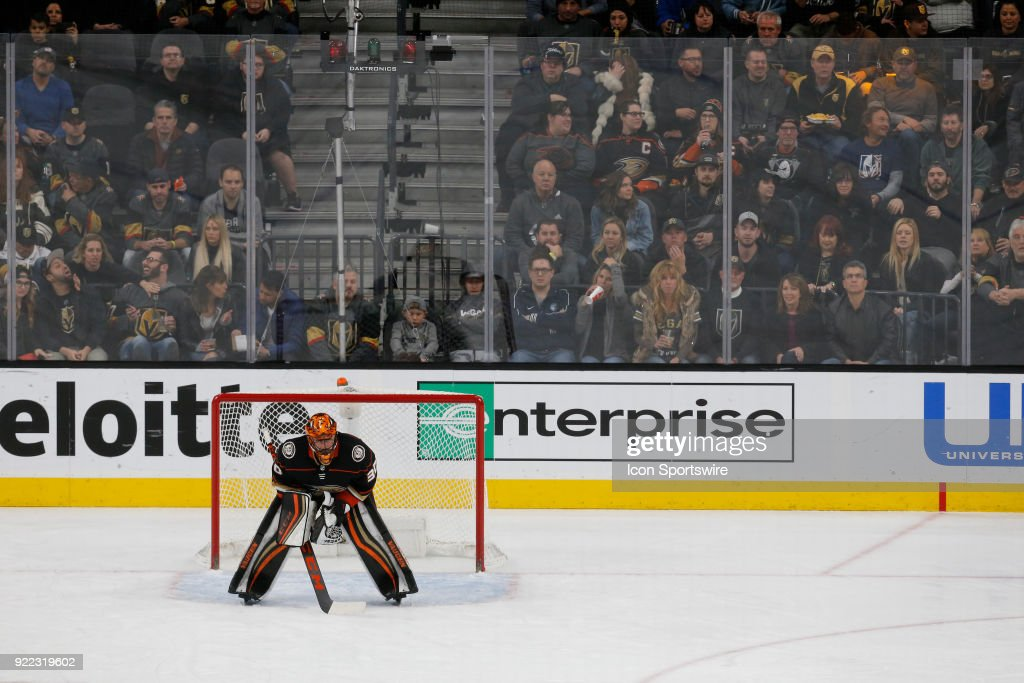 Anaheim Ducks goaltender Ryan Miller (30) waits for play to begin during the third period of a regular season NHL game between the Anaheim Ducks and the Vegas Golden Knights at T-Mobile Arena Monday, Feb. 19, 2018, in Las Vegas, Nevada. The Anaheim Ducks would defeat the Vegas Golden Knights 2-0.