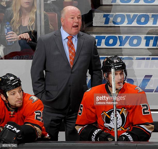 Anaheim Ducks head coach Bruce Boudreau looks on during the game against the Toronto Maple Leafs on January 6 2016 at Honda Center in Anaheim...