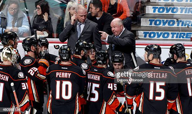 Anaheim Ducks head coach Bruce Boudreau talks to his players during the game against the St Louis Blues on January 2 2015 at Honda Center in Anaheim...