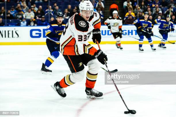 Anaheim Ducks' Jakob Silfverberg moves in with the puck during the first period of an NHL hockey game between the Anaheim Ducks and the St. Louis...