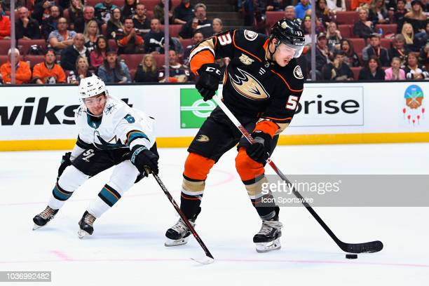 Anaheim Ducks left wing Max Comtois in action defended by San Jose Sharks defensemen Ryan Merkley during a NHL preseason game between the Anaheim...