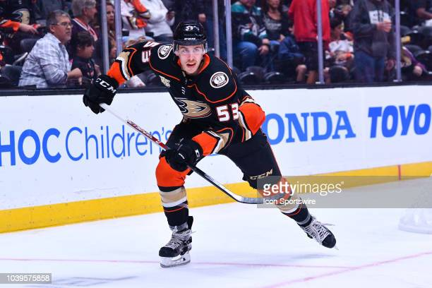Anaheim Ducks left wing Max Comtois in action during a NHL preseason game between the Anaheim Ducks and the San Jose Sharks played on September 20...
