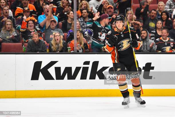 Anaheim Ducks left wing Max Comtois reacts to his goal during a NHL preseason game between the Los Angeles Kings and the Anaheim Ducks played on...