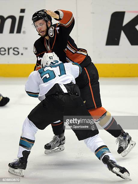 Anaheim Ducks leftwing Joseph Cramarossa gets in a fight with San Jose Sharks center Tommy Wingels on December 9 during the first period of a game...