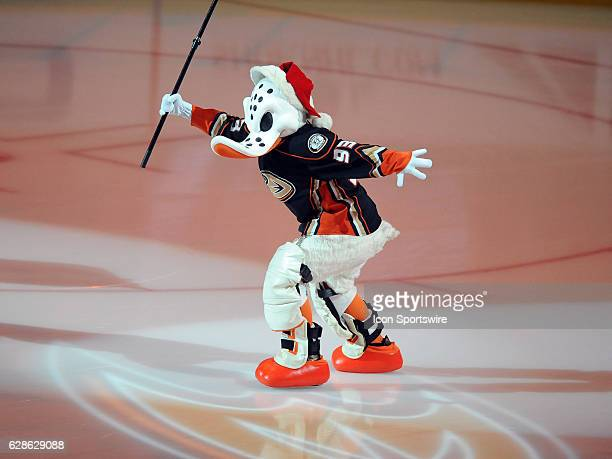 Anaheim Ducks mascot Wild Wing on the ice in a Santa hat before a game against the Carolina Hurricanes on December 7 played at the Honda Center in...