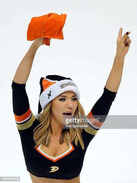 Anaheim Ducks power player in a Santa hat on the ice after the Ducks defeated the Carolina Hurricanes 6 to 5 in a game played on December 7 2016 at...