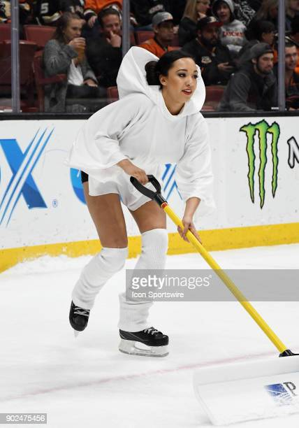 Anaheim Ducks power player on the ice dressed as Princess Leia on Star Wars night during a break in the action of the first period of a game against...