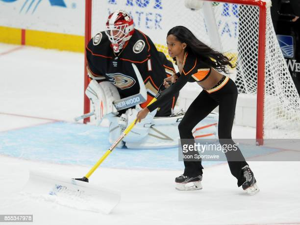 Anaheim Ducks power player on the ice during a break in the action of the third period of an NHL preseason game against the San Jose Sharks on...