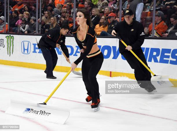 Anaheim Ducks power player on the ice during a break in the action of the first period of a game against the Vegas Golden Knights on December 27...