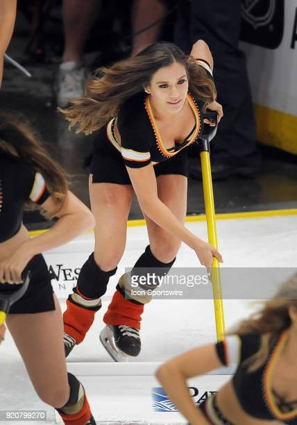 Anaheim Ducks power player on the ice during a break in the action of the third period of a game against the San Jose Sharks played on February 11...