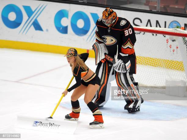 Anaheim Ducks power player skates past goalie Ryan Miller during a break in the action of the first period of a game against the Vancouver Canucks on...