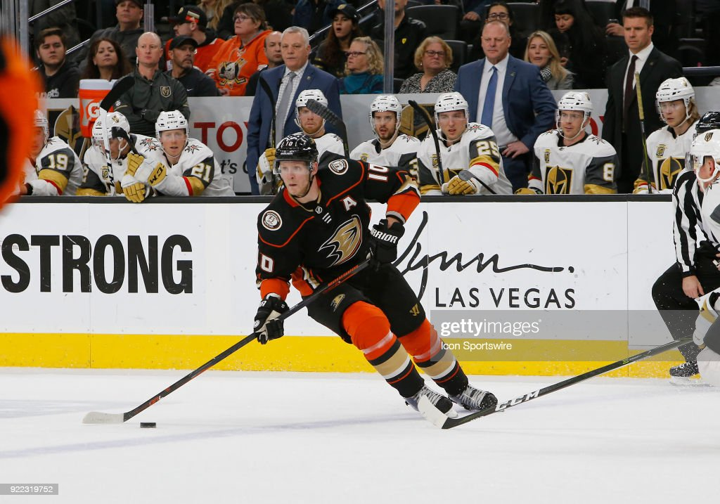 Anaheim Ducks right wing Corey Perry (10) looks to pass the puck during the first period of a regular season NHL game between the Anaheim Ducks and the Vegas Golden Knights at T-Mobile Arena Monday, Feb. 19, 2018, in Las Vegas, Nevada. The Anaheim Ducks would defeat the Vegas Golden Knights 2-0.