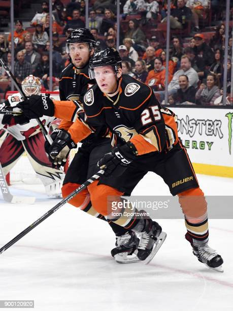 Anaheim Ducks rightwing Ondrej Kase and leftwing Nick Ritchie in action during the first period of a game against the Arizona Coyotes on December 31...