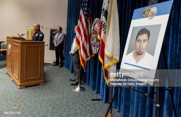 Anaheim Police chief Jorge Cisneros left is joined by Sgt Jeff Mundy and Sgt Daron Wyatt at a press conference in Anaheim on Thursday November 1 2018...