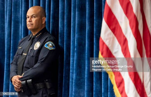 Anaheim Police Department's police chief Jorge Cisneros listens during a press conference in Anaheim on Thursday November 1 2018 to announce the...