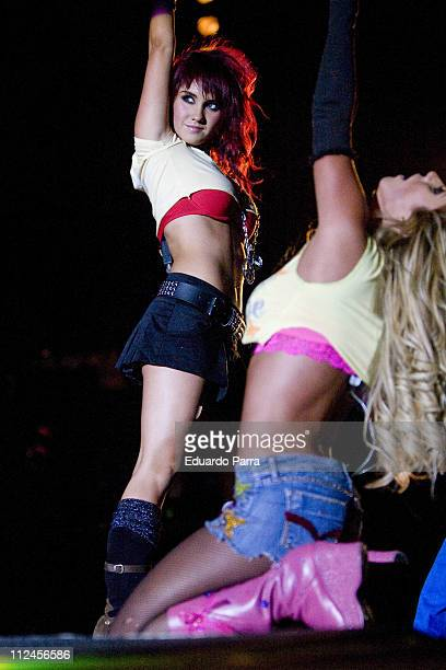 Anahi and Dulce Maria of Latino musical group RBD perform at Sports Palace on August 21 2008 in Madrid Spain