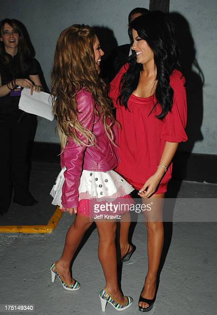 Anahi and Maite of RBD backstage at the Los Premios MTV Latin America 2007 at the Palacio de los Deportes on October 18 2007 in Mexico City Mexico
