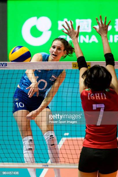 Anahi Florencia Tosi of Argentina attacks during the FIVB Volleyball Nations League Hong Kong match between Japan and Argentina on May 31 2018 in...