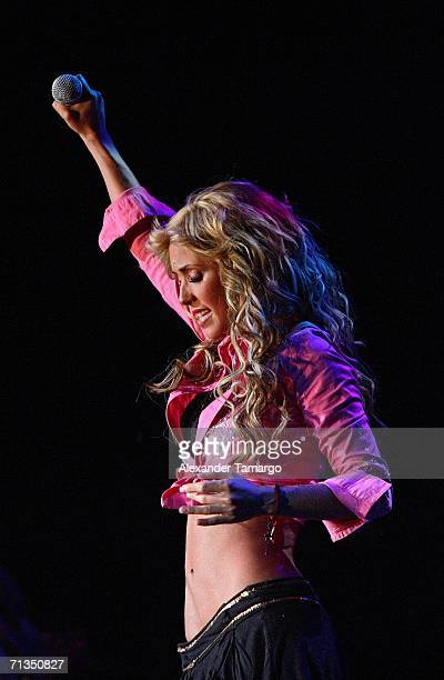Anahi Giovanna Puente Portillo of the group RBD performs at American Airlines Arena on July 1 2006 in Miami Florida