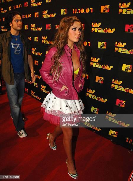 Anahi od RBD arrives at the Los Premios MTV Latin America 2007 at the Palacio de los Deportes on October 18 2007 in Mexico City Mexico