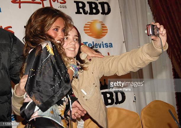 Anahi of RBD and a fan during RBD Press Conference in Madrid January 8 2007 at Palace Hotel in Madrid Spain