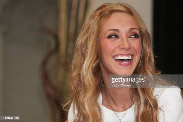 Anahi of RBD attends a press conference to announce their new album 'Empezar Desde Cero' held at EMI Music on November 27 2007 in Mexico City