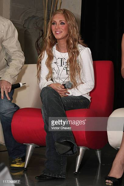 Anahi of RBD attends a press conference to announce their new album Empezar Desde Cero held at EMI Music on November 27 2007 in Mexico City