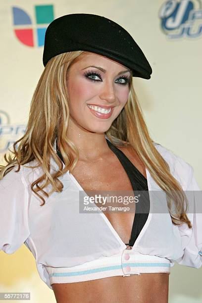 Anahi of the band RBD poses in the press room at the 2nd Annual Premios Juventud Awards at the University of Miami Convocation Center September 22...