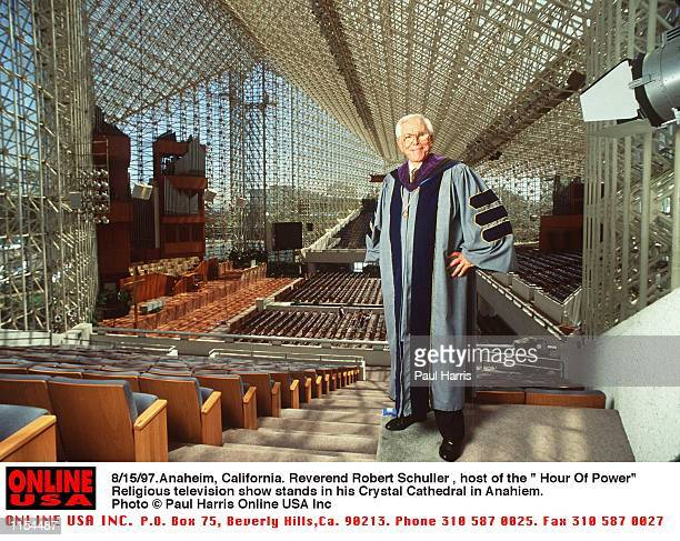 """Anahiem, California. Reverend Robert Schuller, founder of the """" Hour Of Power"""" Television show and builder of the Crystal Cathedral in Anahiem,..."""