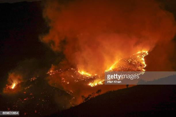 Anahiem fire rages in mountains East of 241 on October 9 2017 in Orange California