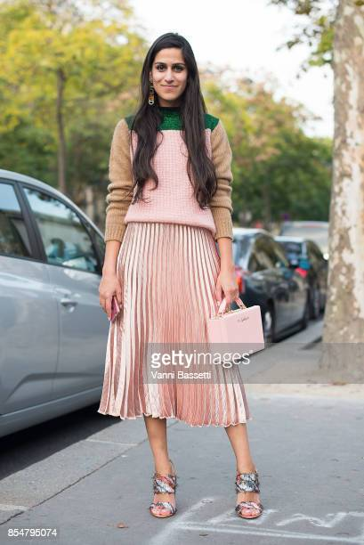Anahita Moussavian poses after the Lemaire show at the Palais de Tokyo during paris Fashion week Womenswear SS18 on September 27 2017 in Paris France