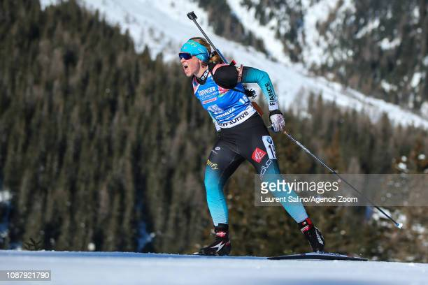 Anais Bescond of France competes during the IBU Biathlon World Cup Women's Sprint on January 24 2019 in Antholz Anterselva Italy