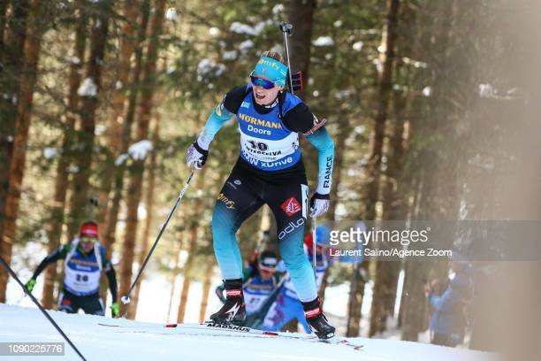 Anais Bescond of France competes during the IBU Biathlon World Cup Men's and Women's Mass Start on January 27 2019 in Antholz Anterselva Italy