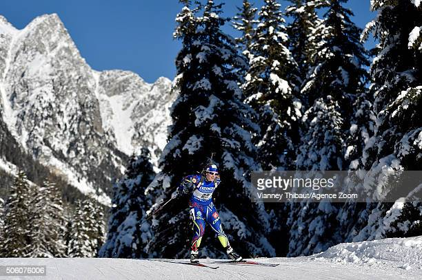 Anais Bescond of France competes during the IBU Biathlon World Cup Women's Sprint on January 21 2016 in AntholzAnterselva Italy